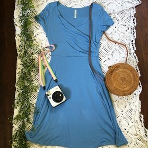Blue Midi Summer Dress with Wrap Top
